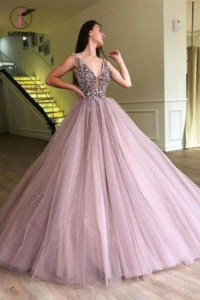 A-line Elegant Sparkly Gorgeous Princess Prom Gown,Stunning Tulle Prom Dresses KPP0602