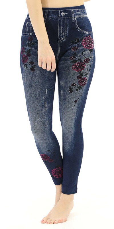 Plus Jeggings with Shiny Stones&Rose Detailed
