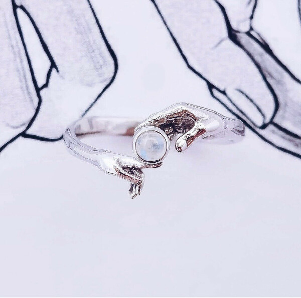 Кольцо с лунным камнем «Взаимное притяжение»