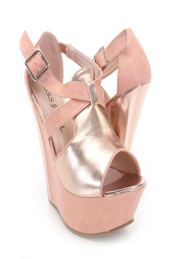 Pink Blush Faux Leather Metallic Detail Wedges