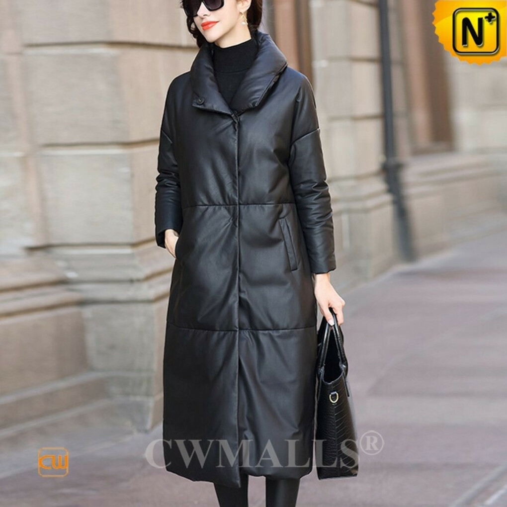 Custom Leather Down Coat | Black Down Filled Leather Long Coat CW602636 | CWMALLS®