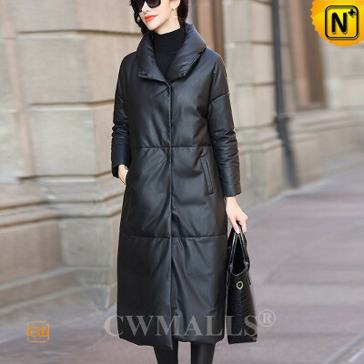 Custom Leather Down Coat   Black Down Filled Leather Long Coat CW602636   CWMALLS®