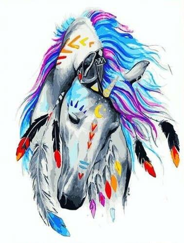 "Картина по номерам ""Лошадь индиго"""