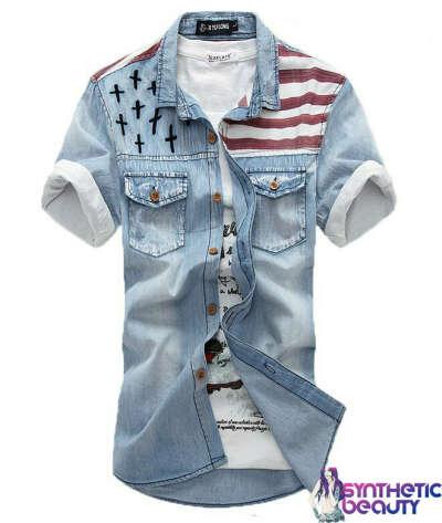 Рубашка джинсовая с отделкой