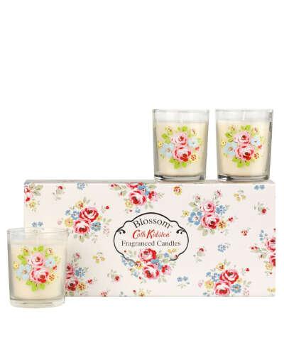 Набор из трех свечек с цветочным узором на баночках Cath Kidston