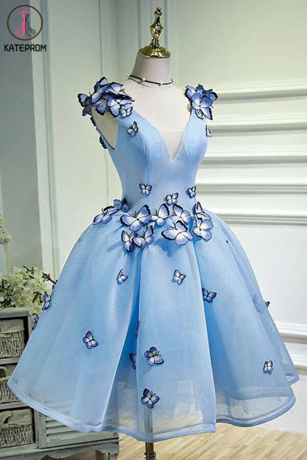 Kateprom Sky Blue A Line Flowers V Neck Sleeveless Junior Prom Dress, Homecoming Dress KPH0535