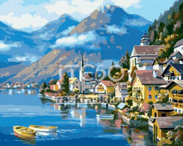 Картина по номерам. Городок на побережье