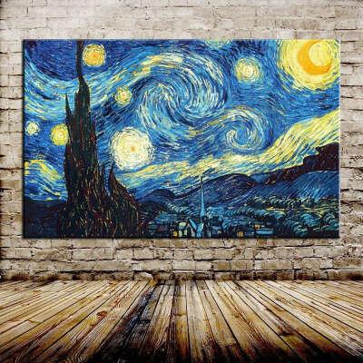 3D Blue Starry Hand Painted Wall Art