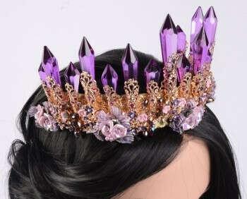 Корона и серьги  purple crystal Tiara