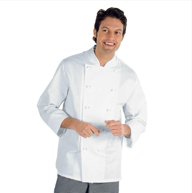 Giacca cuoco chef classica isacco 057000 livorno colore bianco cotone bottoni antipanico