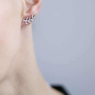 Все украшения > Серебряные серьги Ветви 1P942 купить в интернет-магазине