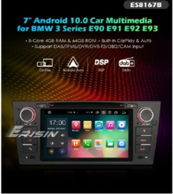"ES8167B 7"" 64G ANDROID 10.0 CAR MULTIMEDIA FOR BMW M3 E90 E92 E93 CARPLAY & AUTO GPS TPMS DAB+ DSP DVD PLAYER"