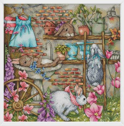 Схема для вышивки крестом - Сад с кроликами