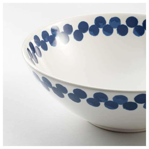 МЕДЛЕМ Миска - белый/синий, с рисунком - IKEA