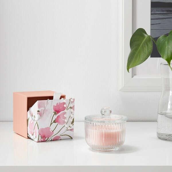 БЛОМДОРФ Ароматическая свеча в стакане - душистый горошек, светло-оранжевый - IKEA