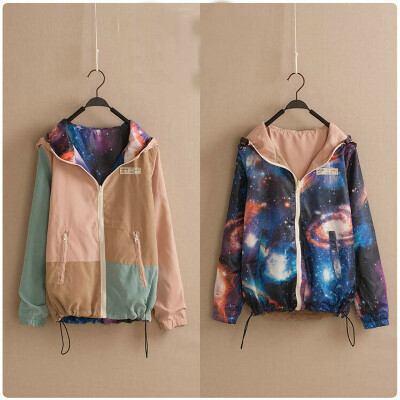 Бесплатная доставка галактик космических цветной печать блок университетский куртки 2 цветов реверсивный краситель матч с длинными рукавами короткая куртка купить на AliExpress