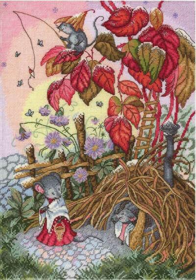 """Вышивка с мышатами  """"Осеннее утро"""""""