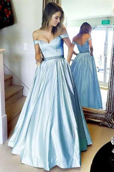 Stunning A-line Off the shoulder Sky Blue Long Prom Dress with Pocket PFP0527