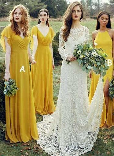 Mismatched Yellow Long Chiffon Cheap Bridesmaid Dresses Online, WG269