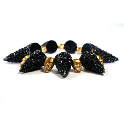 Black Crystal Spike And Gold Skull Bracelet