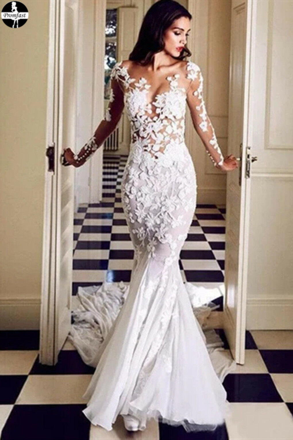 Promfast Trumpet/Mermaid Long Sleeve Lace Rustic Wedding Dresses With Applique PFW0527