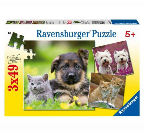 Пазл 3 в 1 Ravensburger Щенки и котята
