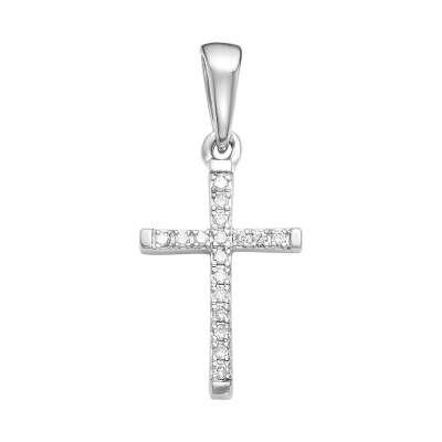 Крестик из белого золота с камнями