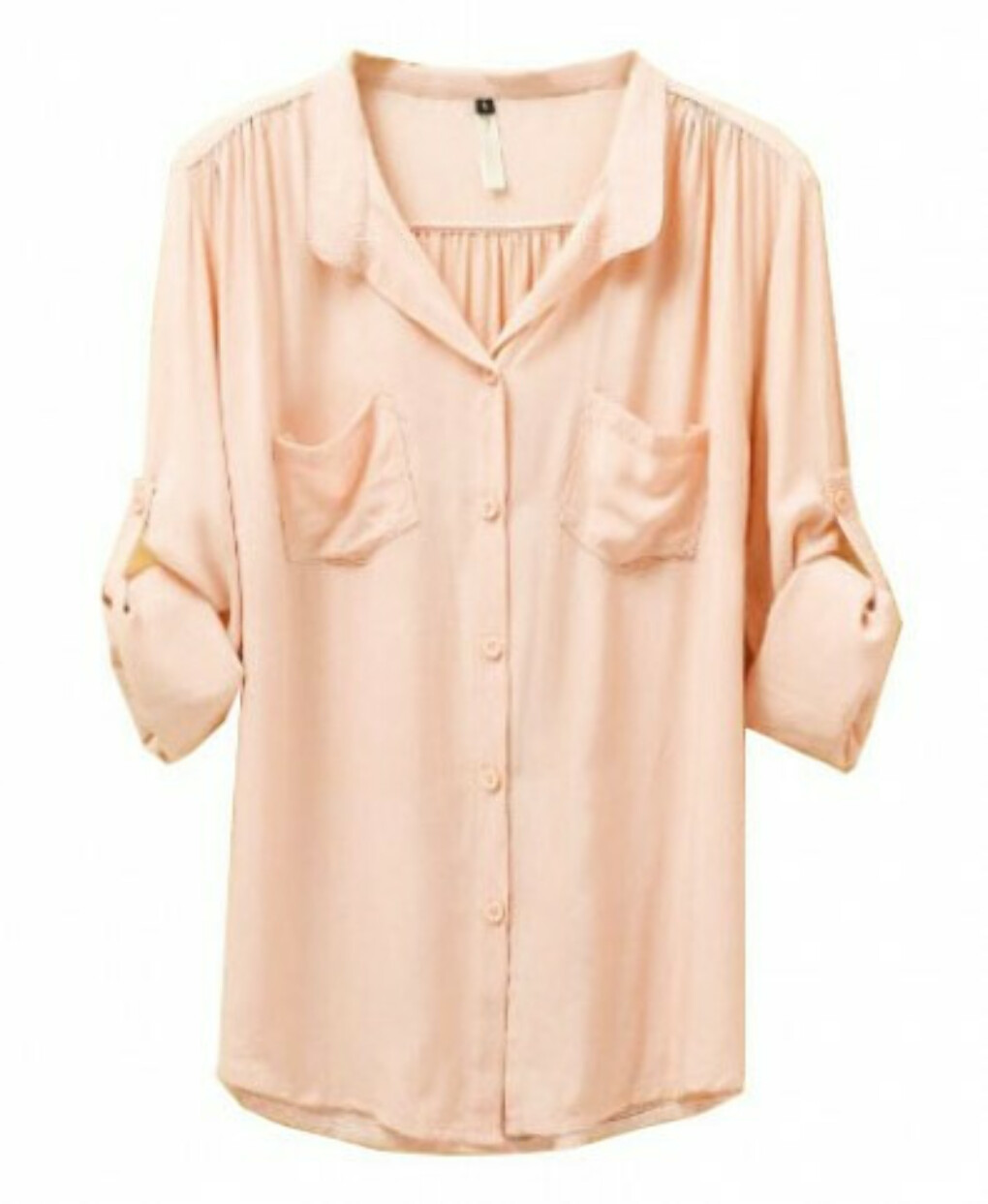Mandarin Collar Cotton Blouse with Twin Front Pockets