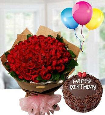 50 red rose bunch , chocolate cake & happy birthday ballons