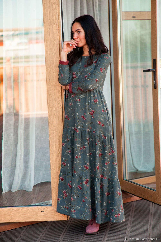 Длинное осеннее платье – купить в интернет-магазине на Ярмарке Мастеров с доставкой