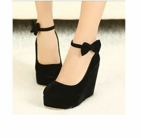 Round Toe Bow Wedges High Heel Platform Flat Oxford Casual Creeper Shoes Gift