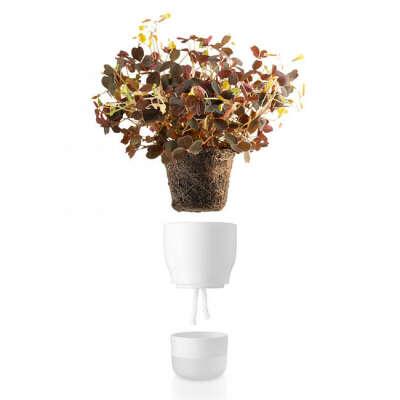 Горшок для растений с функцией самополива Ø9 см белый
