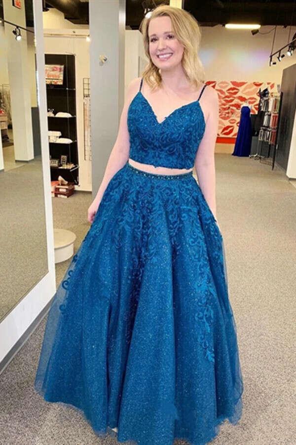 Promfast Mykonos Blue Sparkly Two Pieces Appliqued Spaghetti Straps Prom Dress PFP1988