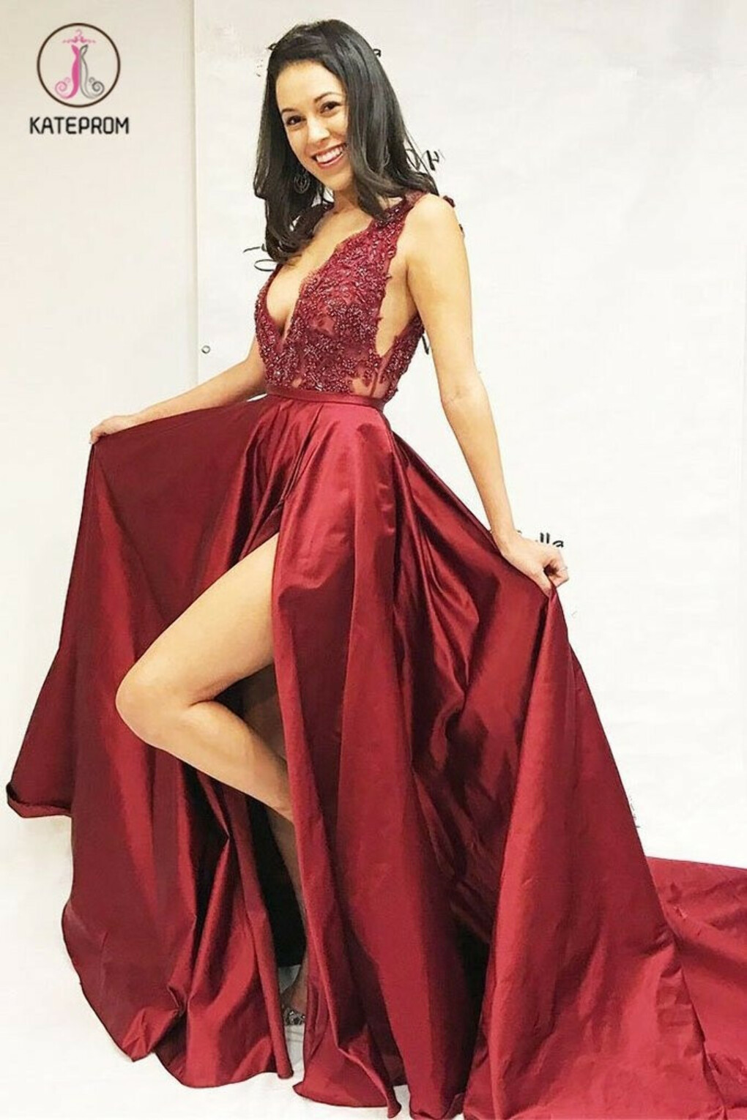 Burgundy V Neck Split Long Prom Dresses, A Line Cheap Formal Dress with Slit KPP0521