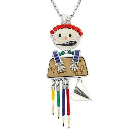 TARATATA | Купить Колье Vive La Recre мальчик с цветной эмалью, дерево