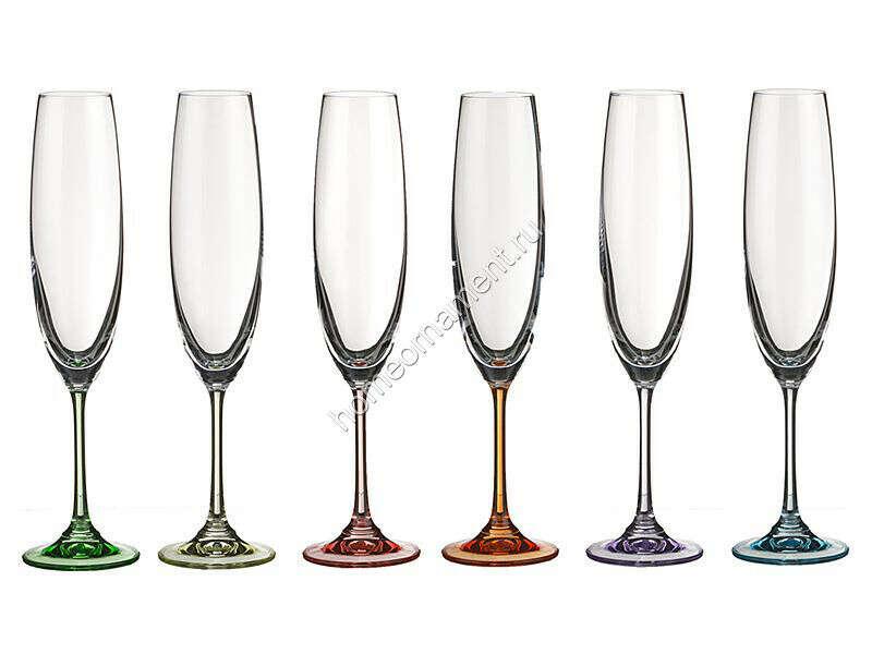 Набор бокалов для шампанского с цветным дном, Чехия, 6 шт, 250 мл,арт.680-128