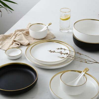289.44руб. 32% СКИДКА|Керамические Золотые инкрустированные белые и черные тарелки, стейк, еда, блюдо, посуда в скандинавском стиле, миска Ins, столовая тарелка, фарфоровая посуда высокого качества, набор посуды|Блюдца и тарелки|   | АлиЭкспресс