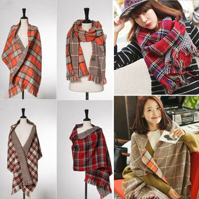 Women Winter Wool Blend Thicken Warmth Plaid Long Scarf Wrap Shawl Stole Scarves