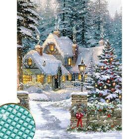 Алмазная вышивка с полным заполнением «Домик в сказочном лесу» 22×32 см, холст, ёмкость