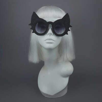 """Meowzer"" Black Glitter Cat Sunglasses"