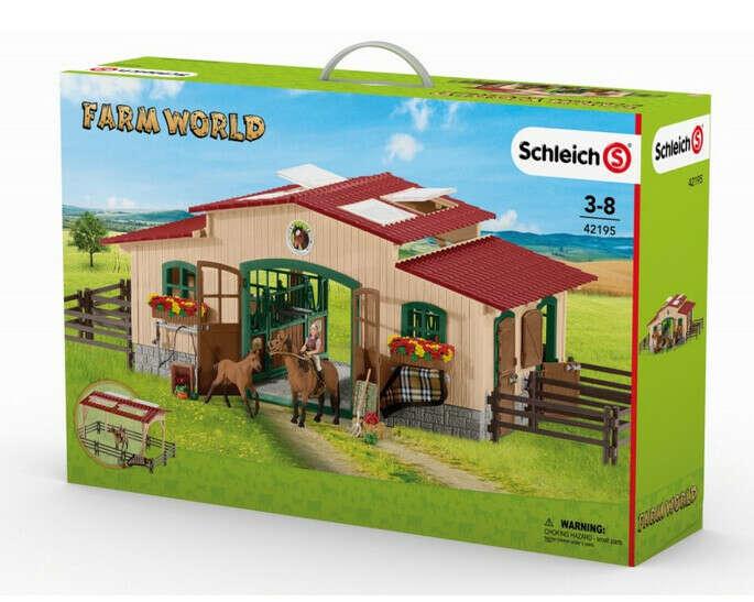 Schleich Pferdestall mit Pferden und Zubehör 42195