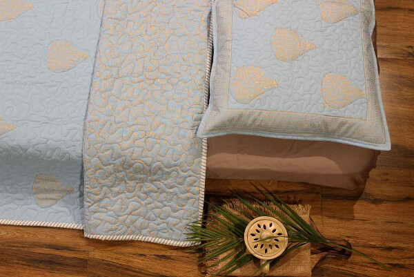 The Classic Blue Quilted Bedcover Set
