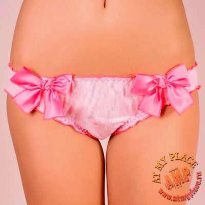 Розовые трусы-слипы с бантами