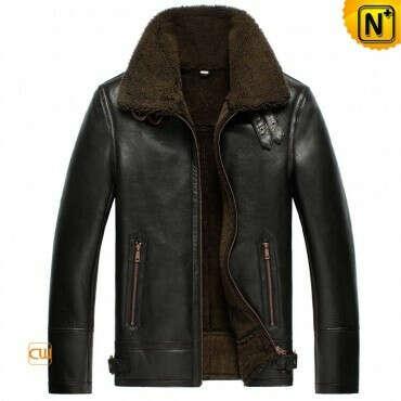 CWMALLS® Black Sheepskin Shearling Jacket CW856135