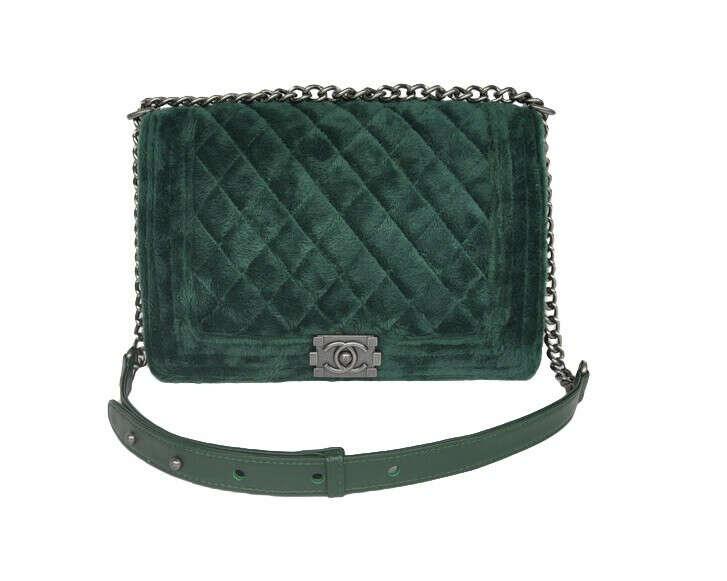 Chanel boy green velvet