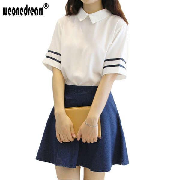 Японский школьная форма с отложным воротником с коротким рукавом матрос + юбка вмс школа стиль студенты одежда для девочки Большой размер купить на AliExpress