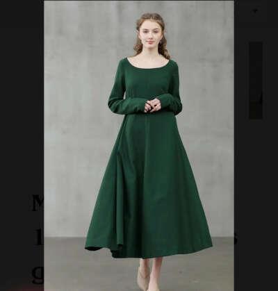 Зелёное тёплое платье
