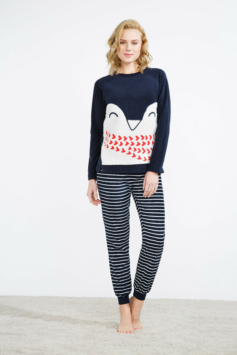 Теплая пижама Long thermal penguin graphic pyjama