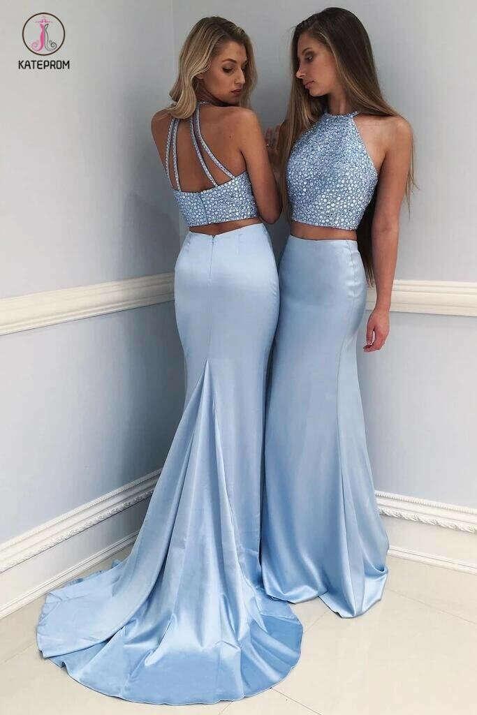 Stylish Sky Blue Two-Piece Beaded Long Prom Dress,Mermaid Evening Dress KPP0324