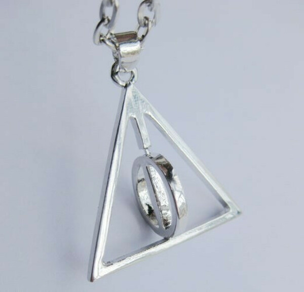Harry Potter   Deathly Hallows charm pendant necklace/Please note!There circle circle rotating and non rotating-in Pendant Necklaces from Jewelry on Aliexpress.com